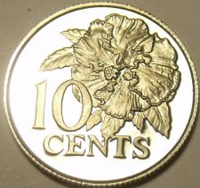 Buy Rare Proof Trinidad & Tobago 1977 10 Cents~5,337 Minted~Hibiscus~Free Shipping