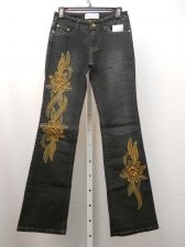 Buy Milano Moda Boot Cut Legs Dark Wash Embellished 28X33 Women's Jeans Size 4