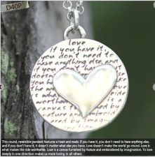 Buy Inspirational Kevin & Anna Charm 950 Silver / HEART = LOVE QUOTE / 16mm
