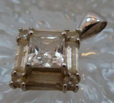 Buy vintage RETRO or DECO STERLING SILVER DQ (QUALITY) CZ SQUARE PENDANT
