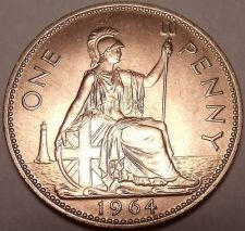Buy Huge Uncirculated Great Britain 1964 Penny~Excellent~Free Shipping