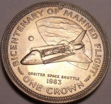 Buy Massive Gem Unc Isle Of Man 1983 Crown~Orbiter Space Shuttle Manned Flight~Fr/Sh