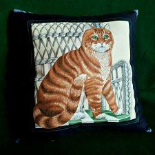 Buy Throw Pillow Cat Print handmade New #2