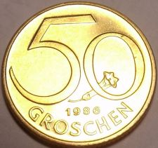 Buy Rare Proof Austria 1986 50 Groschen~Only 42,000 Minted~Free Shipping