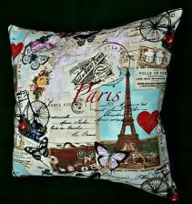 "Buy Handmade Throw Pillowcase Cover Paris print 100% Cotton fits 16"" pillow"
