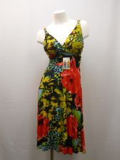 Buy Floral Surplice Spaghetti Straps Buckles Smocked Elastic Waist Sundress Size XL