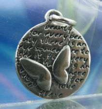 Buy Inspirational Kevin & Anna Charm 950 Silver / BUTTERFLY = BEAUTY QUOTE / 16mm