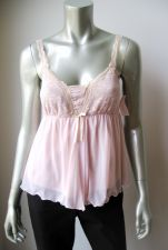 Buy Sophie B NEW Antique Pink Lace Bust Sheer Mesh Burned-Edge Lined Camisole Top S