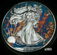 Buy 2015 Rainbow Monster Toned Silver American Eagle 1oz fine with velvet case #a383