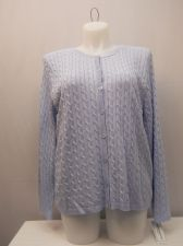 Buy Plus Size 1X Women's Button Cable Sweater ALFRED DUNNER Solid Blue Long Sleeves