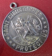 Buy CHARM: sterling RELIGIOUS MEDAL ST CHRISTOPHER PROTECT US NWOT