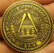 Buy Large 44.3mm Solid Bronze Grand Lodge Of Georgia 1997 Masonic Medallion~Free Shi