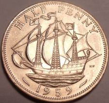 Buy Gem Unc Great Britain 1959 Half Penny~See All Our G.B. Coins~Free Shipping~