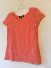 Buy Womens Scoop Neck Short Sleeve Knit Top with Lace Overlay Size L Melon