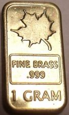 Buy Gem Unc .999 Pure Brass 1 Gram Maple Leaf Bar~Free Shipping