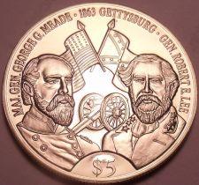 Buy Gem Unc Liberia 1999 5 Dollars~Robert E. Lee And George G. Meade~Gettysburg~Fr/S