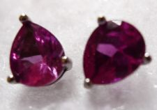 Buy Post Stud Earrings : Sterling 925 Silver Hot Pink Teardrops Signed Han