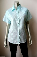 Buy Jipata NEW Blue Floral Embroidery Short Sleeves Button Down Tunic Shirt 46/XL PR