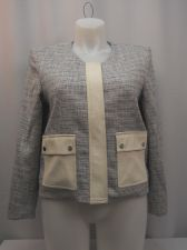 Buy SIZE 14 Womens Blazer Jacket VINCE CAMUTO Cream Long Sleeves Faux Leather Trim