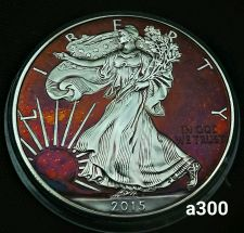 Buy 2015 Rainbow Toned Silver American Eagle 1 ounce fine silver uncirculated #a300