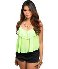 Buy True Light Ruffle CamisoleTop Misses Size S-L Solid Neon Lime Spaghetti Straps