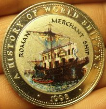 Buy Proof Somalia 1998 25 Shillings~Roman Merchant Ship~Multicolored~Free Shipping
