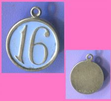 "Buy vintage STERLING CHARM : BLUE ENAMEL w/ THE NUMBER ""16"""