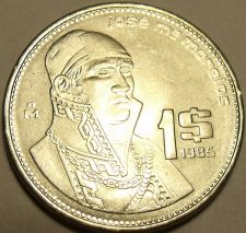 Buy Brilliant Uncirculated Mexico 1985 Peso~Stainless Steel~Jose Morelos ~Free Ship