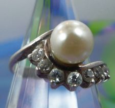 Buy sz 5 Ring Sterling Silver 7mm Pearl w/ Marquis Rhinestone Accents Signed JC