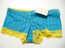 Buy X198 Rene Rofe NEW Blue/Gold Striped Stretch Sleek Lace Microfiber Boyshort S PR