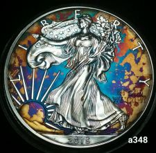 Buy 2015 Rainbow Toned Silver American Eagle 1oz fine uncirc. with velvet case #a348