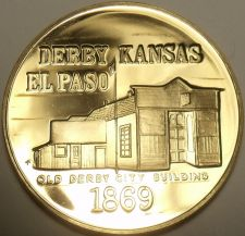 Buy MASSIVE DERBY COUNTY KANSAS CENTENNIAL FRANKLIN MINT BRONZE COIN~FREE SHIPPING~