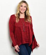 Buy Janette Plus Women's Red Marl Sweater Size 1XL-3XL Long Sleeves Tunic Asymmetric