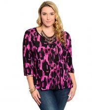 Buy Hot Ginger Purple Geometric 3/4 Sleeves Scoop Neck Top Plus Size 1XL-3XL