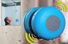 Buy BLUETOOTH SHOWER SPEAKER AQUASOUND WATER RESISTANT MICROPHONE SUCTION CUP BLUE