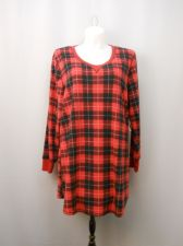 Buy Soft Sensations Women's Sleepshirt Minky Fleece Size 2X Red Plaid Long Sleeves