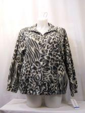 Buy SIZE XL Fleece Jacket ALFRED DUNNER Animal Print Zip Closure Long Sleeves