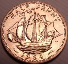Buy Unc Great Britain 1964 Half Penny~The Golden Hind~Fantastic~Free Shipping