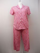 Buy SIZE L Women 2PC PJ Set SECRET TREASURES Pink Paisley Notch Collar Cropped Pants
