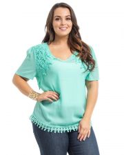 Buy Araza Mint Lace Trim Short Sleeves V-Neck Sheer Chiffon Pullover Top Size 1X-3X