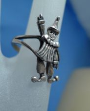 Buy sz 9 Ring : Sterling silver Vintage Articulated Clown - Moving Arms and Legs