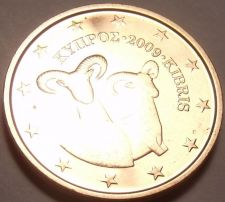 Buy GEM UNC CYPRUS 2009 2 EURO-CENTS~DOUBLE RAMS~FREE SHIP~