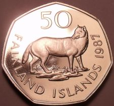 Buy Rare Proof Falkland Islands 1987 50 Pence~2,500 Minted~Falkland Island Fox~Fr/Sh