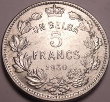 Buy Huge Belgium 1930 5 Francs~First Year Ever Minted~Free Shipping