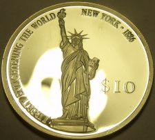 Buy Silver Proof Liberia 2000 $10.00~Statue Of Liberty~Enlightening The World~Fr/Shi