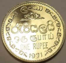 Buy Gem Cameo Proof Ceylon 1971 Rupee~Last Year Ever Minted~Only 20,000 Minted~Fr/Sh