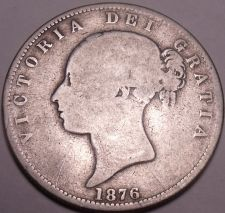 Buy Huge Rare Silver Great Britain 1876 Half Crown~The Second Young Head Type~Fr/Shi