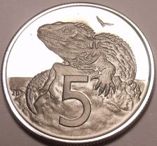 Buy Proof New Zealand 1968 5 Cents~Tuatara~Only 40,000 Minted~Free Shipping