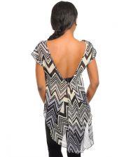 Buy Womens Tuxedo Top Misses Size S-L Sheer Chevron Print V-Back Cap Sleeve Pullover