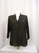 Buy NY Collection Top Plus Size 3X Black Crinkle Fabric 3/4 Sleeves Button Closure